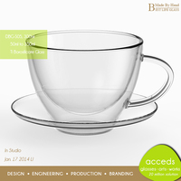 Borosilicate Double Wall Glass Coffee Cup Saucer Sets
