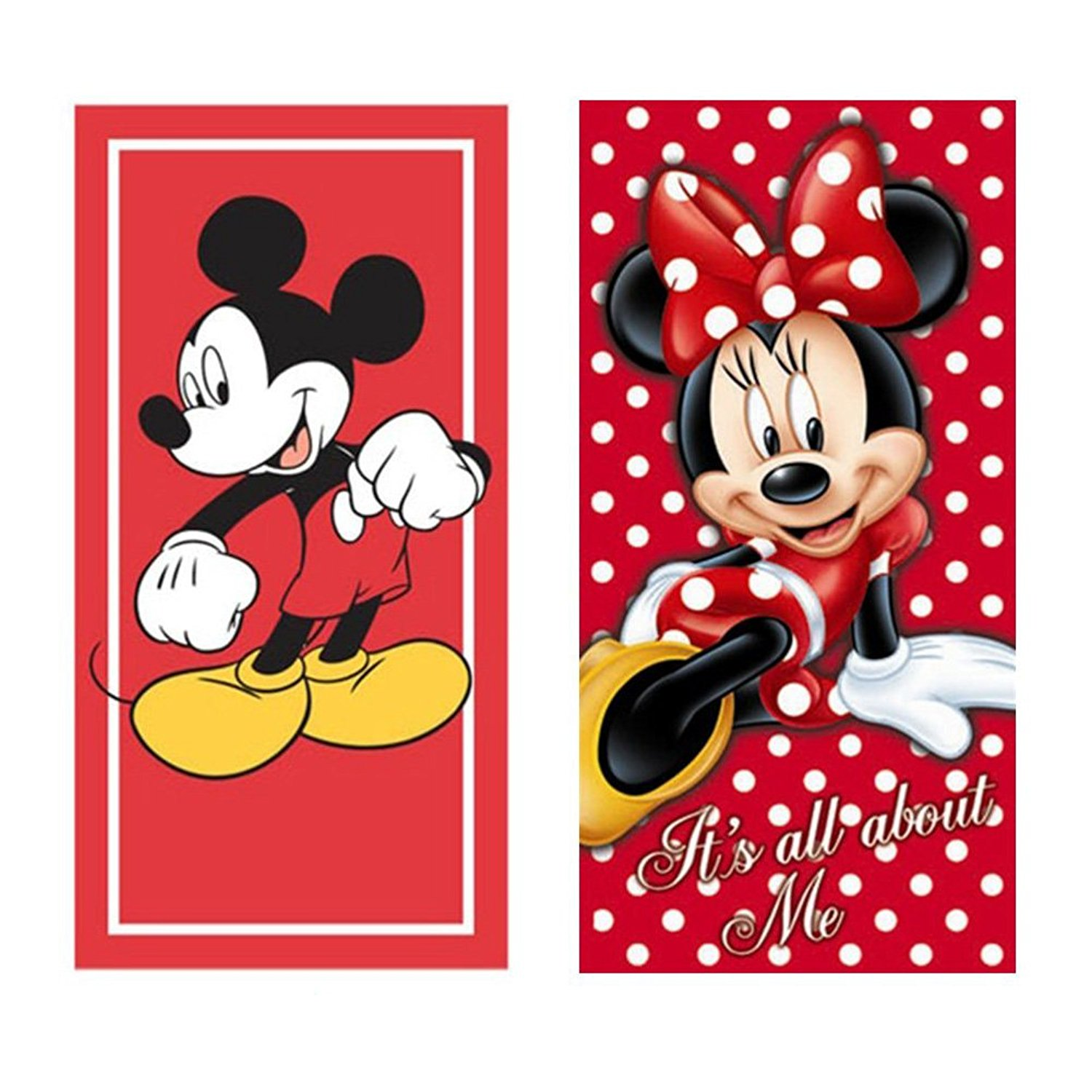 Disney Mickey Mouse & Minnie Mouse Beach Towels Printed Velour - 2 Pack Set