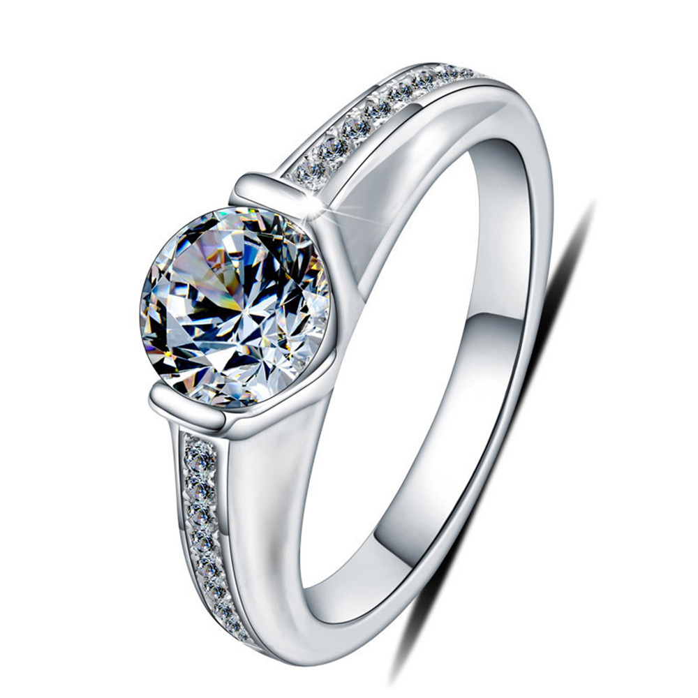 Gold Plated S 925 Sterling Silver Diamond Ring Crystal Zirconia Paved Silver Engagement Ring