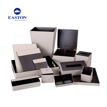 Hotel leather tray set supplies, hotel room amenities list leather