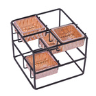 Wholesale black metal wire cubic square votive tealight glass candle holder for home decor