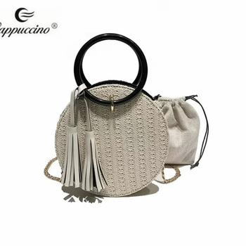 cf224c8e61 2019 SS Cappuccino NewDesign Fashion Beach Straw Basket Bag 2-in-1 with  Tassel