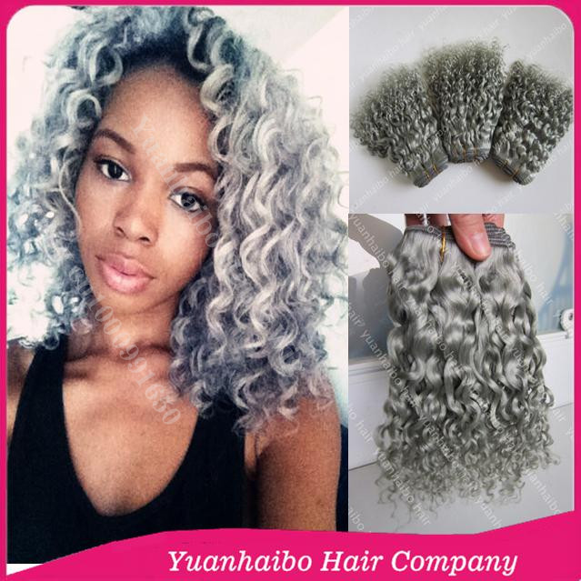 Super 8A Grade Wholesale! #silver gray deep curly brazilian remy hair grey hair weaves for black women