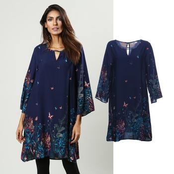 Hot Selling Wholesale Long Sleeve Butterfly Floral Allover Print Womens Tunic Tops Dress