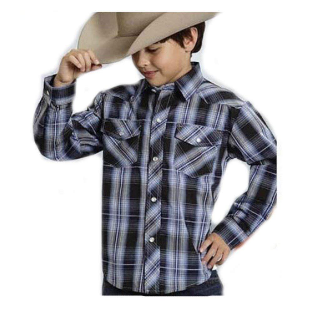 bee4c64b4cc Get Quotations · Roper Boys Black And Blue Plaid Long Sleeve Western Shirt
