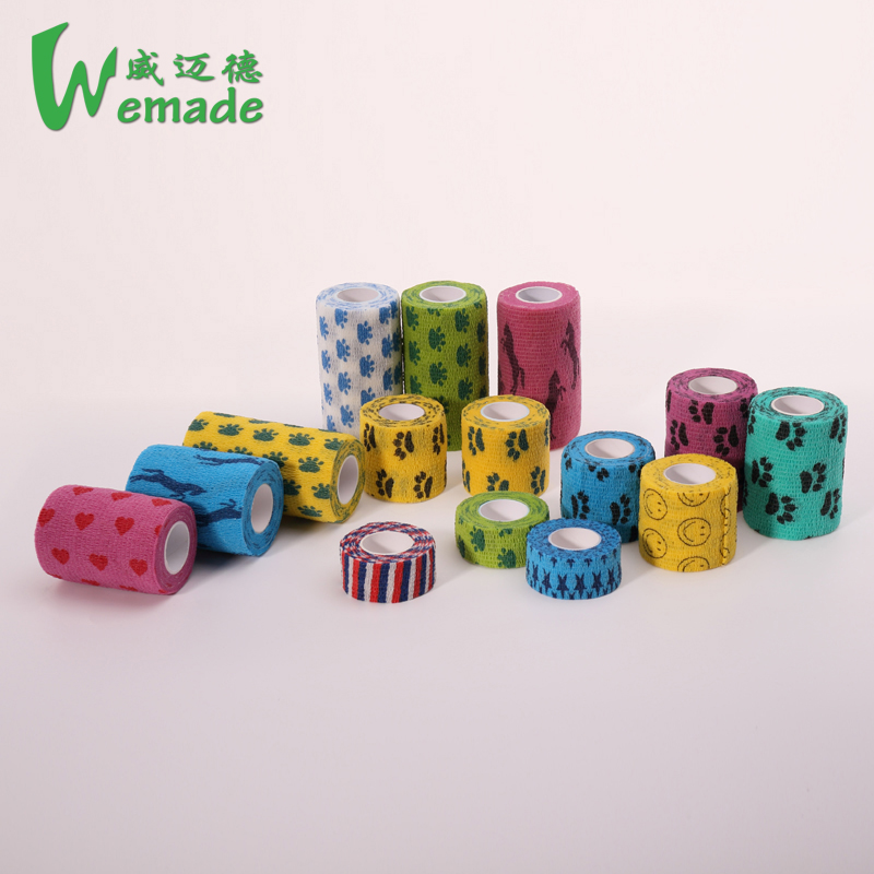 Wuxi Wemade Waterproof material cohesive bandage vet colored adhesive tape