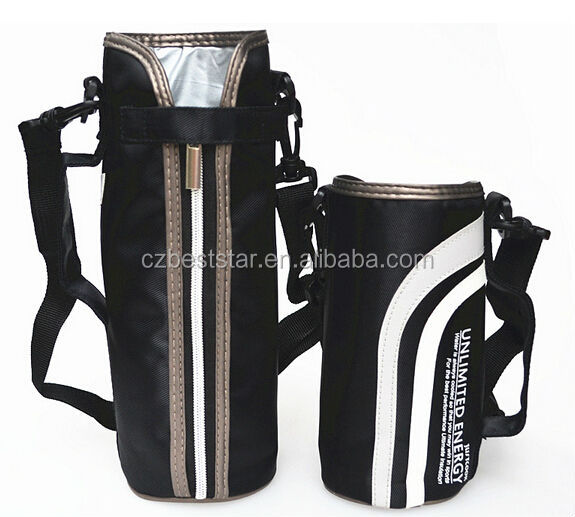 Outdoor Travel/Sports Waterproof Cup Sleeve Black Thermal Bottle Cooler Bag