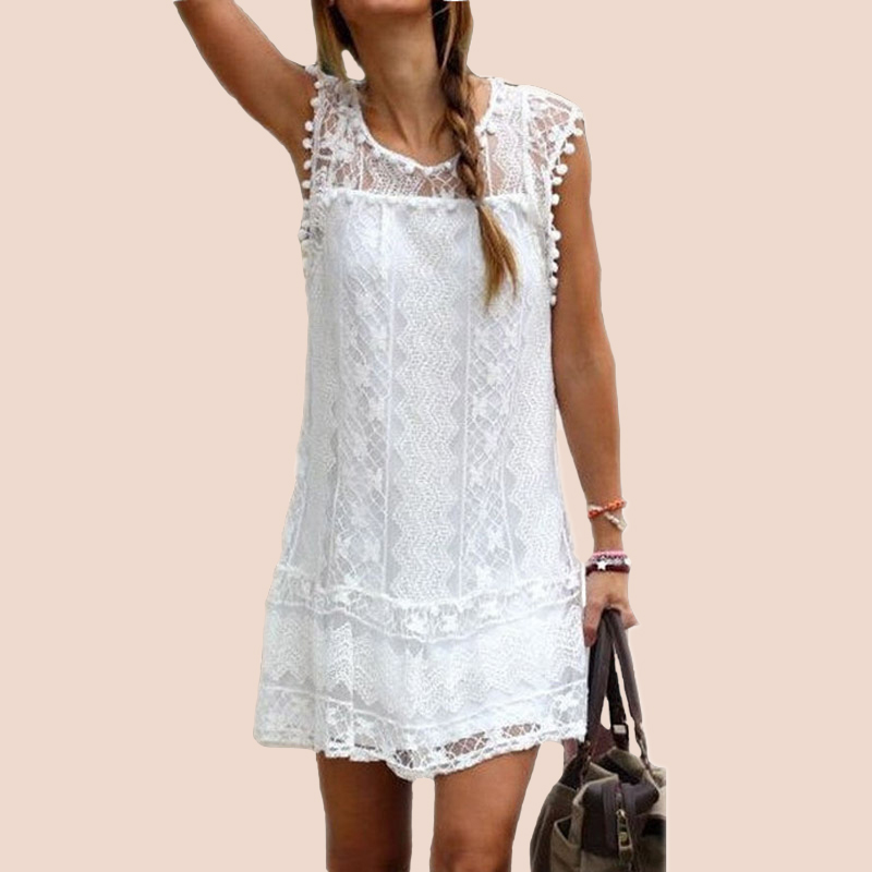 2016 Sexy Womens Summer Casual Sleeveless Evening Party Beach Dress Short Lace Tassel Mini Dress Vestidos