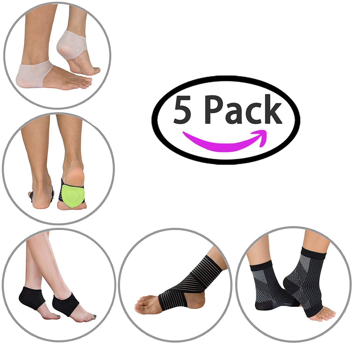 Plantar Fasciitis Foot Sleeve Kit - Plantar Fasciitis Silicone Heel Protectors, Heel Recovery Protectors, Arch Support Pads, Compression Socks, Ankle Brace (5 Pack)