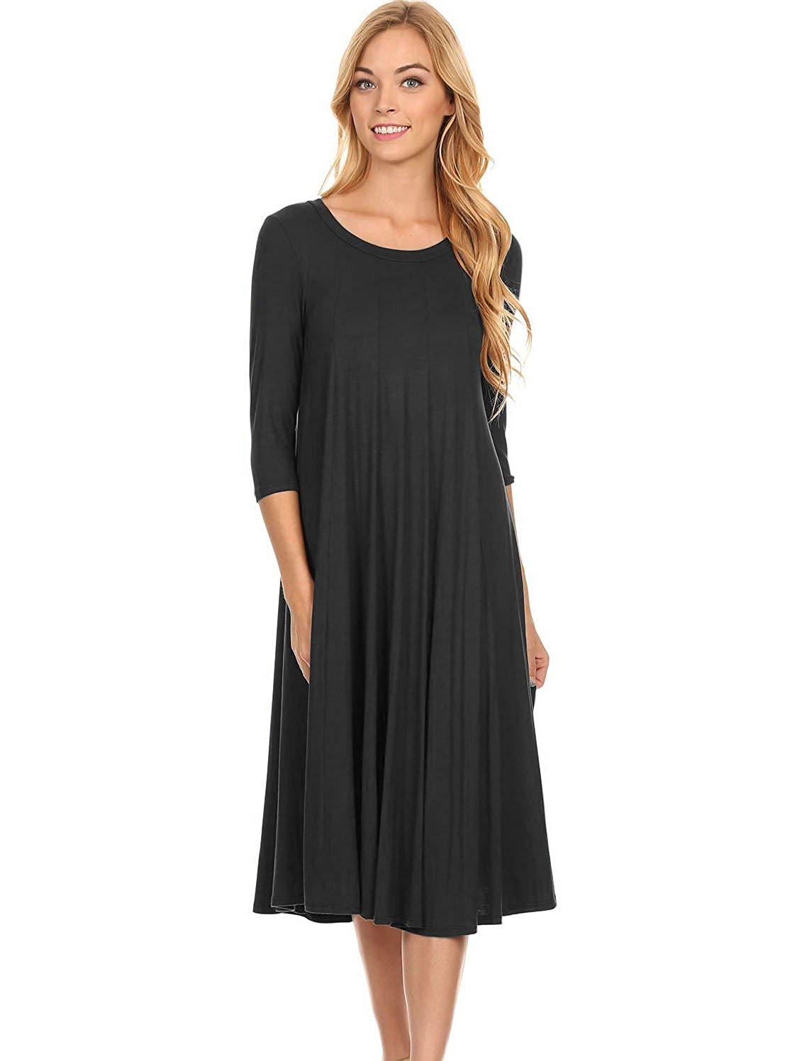 e50a1c6cac931 Get Quotations · Modern Kiwi Long Sleeve Flowy Maxi Dress (S-4X)
