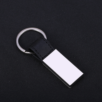 Factory custom leather made engraved brand keychain