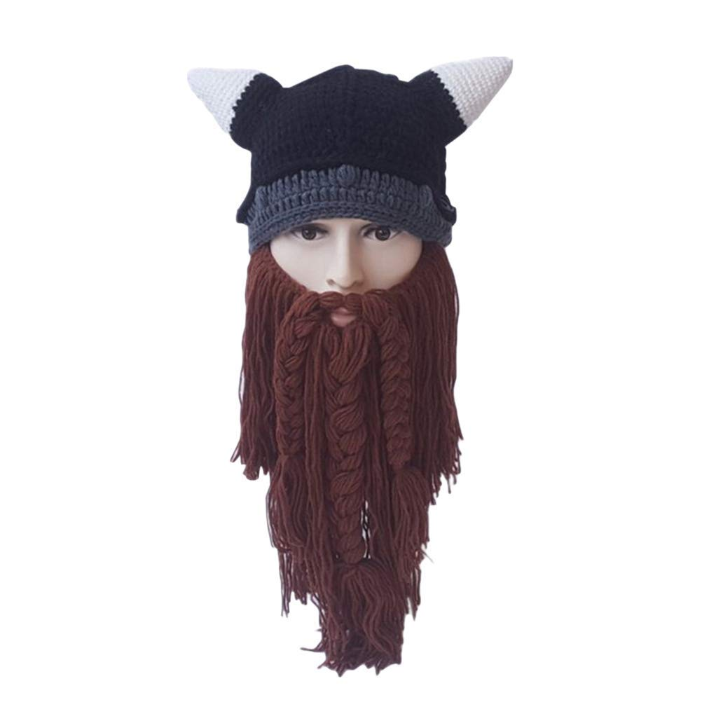 a73a5affd8c7a Get Quotations · Amosfun Autumn Winter Vikings Beanies Knitted Long Beard  Hats Ox Horn Funny Hat Halloween Costumes Warm