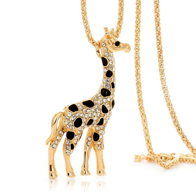 Unique animal lover pendant necklace , gold giraffe pendant necklace for women