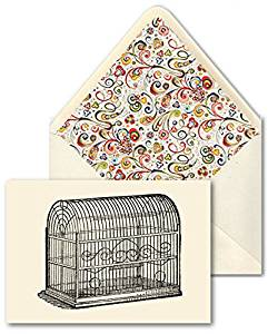 """HAND MADE CARDS AND DESIGNER ENVELOPES [Set Of 10] - Birds """"Vintage Dome Topped Wire Bird Cage No. 2"""" Vintage Art Combines With Elegant Hand Made Paper With Colorful Florentine Style/Design And Specialty Materials To Create These Delightful Cards From Our Design Collection - A Stylish Way To Add A"""