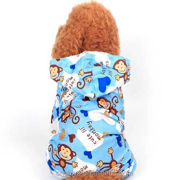 A pet dog, a lightweight, waterproof, cartoon, and a cute monkey with a four-legged raincoat