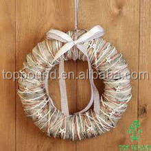 handmade Luxury Willow And Wood christmas wreath with red rope and white stars
