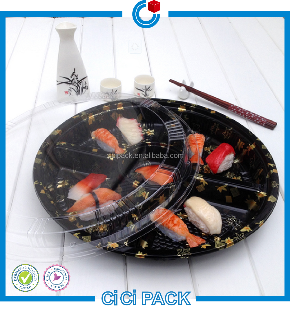 2016 promotion round sushi takeaway food container with sealed lid