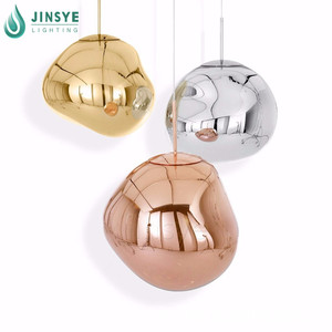 Nordic modern stone shaped irregular chandelier light indoor decorative gold brass / copper /silver glass hanging lamp