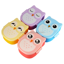 4 Colors Cartoon Owl Plastic Bento Lunch Box for kids Food Fruit Storage Container Microwave Cutlery Set Children Gift