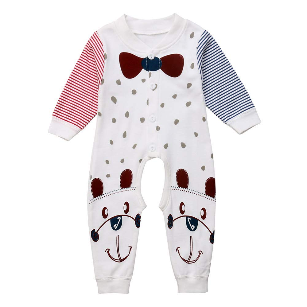 879e52b34edf Get Quotations · Suma-ma Fashion Animal Dog Print Stripe Romper Jumpsuit  Outfits Set for Newborn Baby Boys