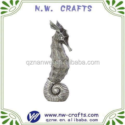 Resin Tarnished silver seahorse decoration