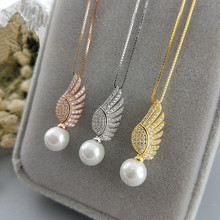 three colors Angel Wings pearl pendant mounting in 925 sterling silver