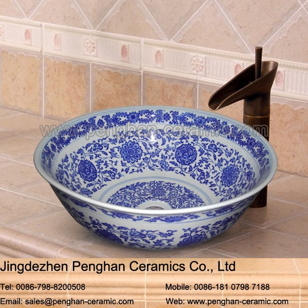 Jingdezhen factory direct wholesale ceramic blue and white countertop basin