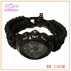 Tactical survival paracord watch with black adjustable shackle