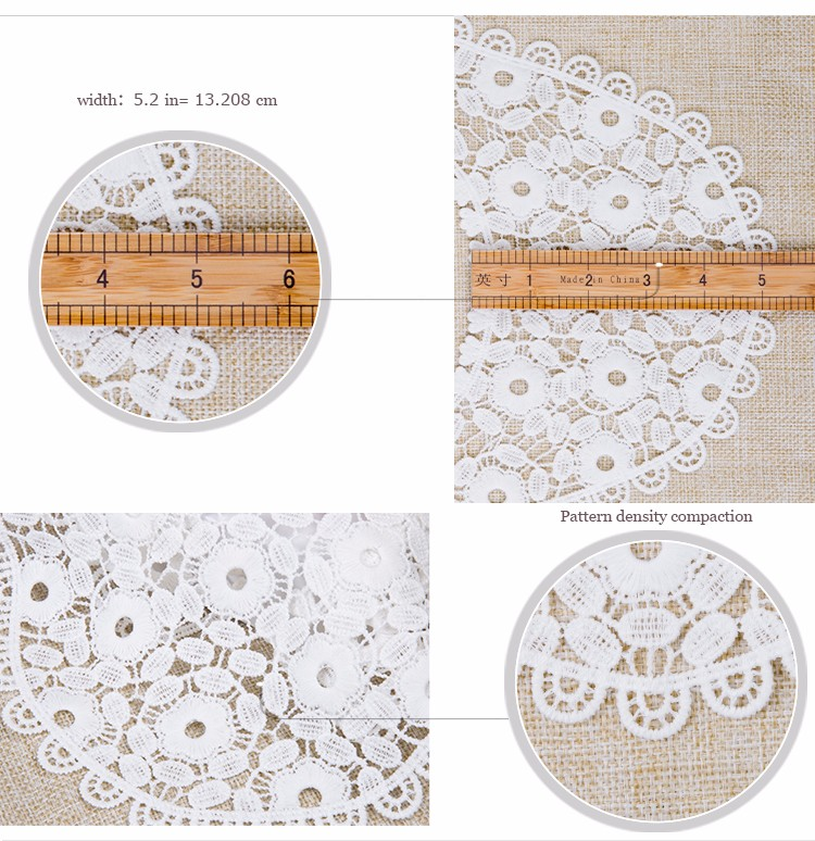 Wholesale 100 cotton neck crochet embroidered water soluble lace collar/ Custom white milk silk bridal dress neckline lace trim