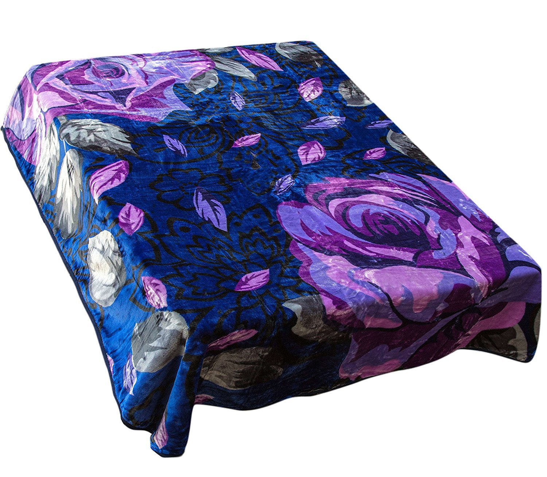 "Archangel Ultra Silky Soft Heavy Duty Quality Korean Mink Reversible Cloud Blanket Printed Flower Navy 83""x94"""