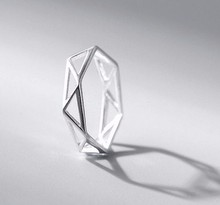 new design jewellery S925 sterling silver geometric ring