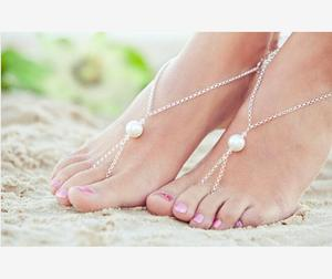 Women fashion gold plated ankle chain plastic pearl bracelet