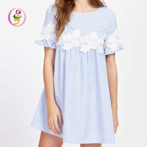 Light blue one shoulder shoulder bandage lace printed lady's cotton medium sleeve quality casual loose dress