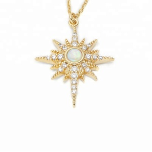 China fashion jewelry Opal pendant starburst necklace wholesale