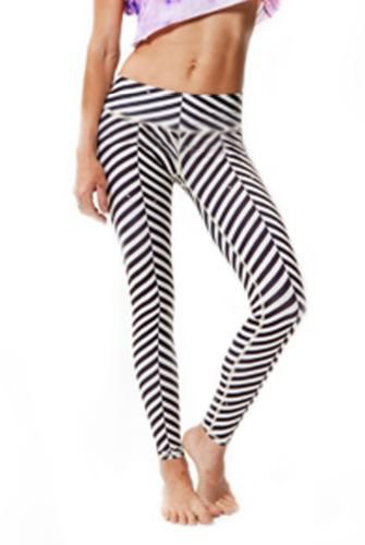 Black And White Striped Workout Leggings The Else