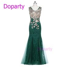 Kaftan 2016 Elegant Long Sleeveless Blue Luxury Crystal V Neck Red Floor Length Lace Mermaid Green Formal Social Evening Dresses