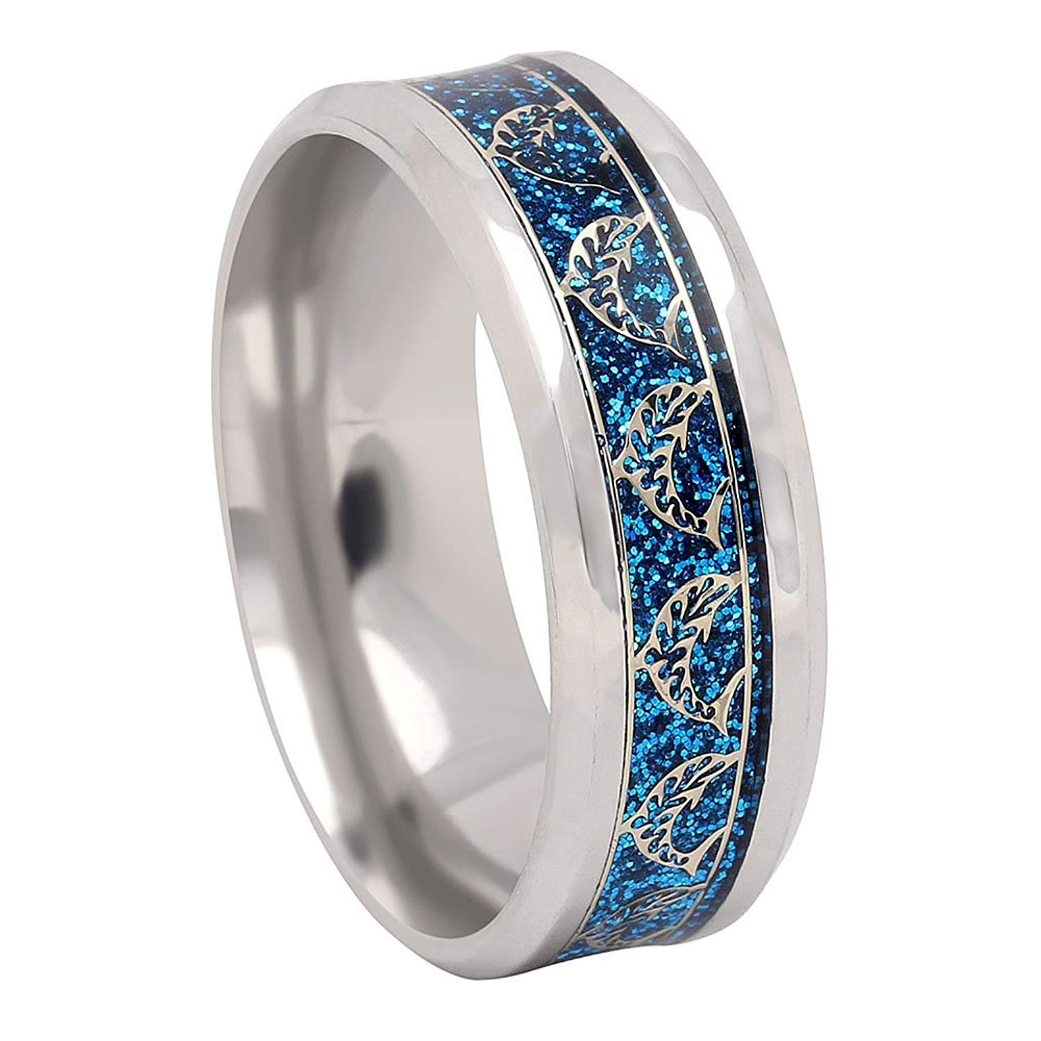 Dolphins Stainless Steel Comfort Fit Wedding Band Ring Ginger Lyne Collection