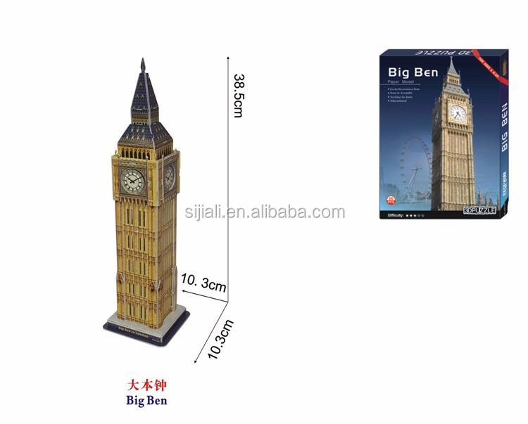 Educational Diy Assemble Big Ben World Architecture 3d Paper Model Puzzle -  Buy World Famouse Building Paper Craft Diy 3d Puzzle,3d Paper Model Toy