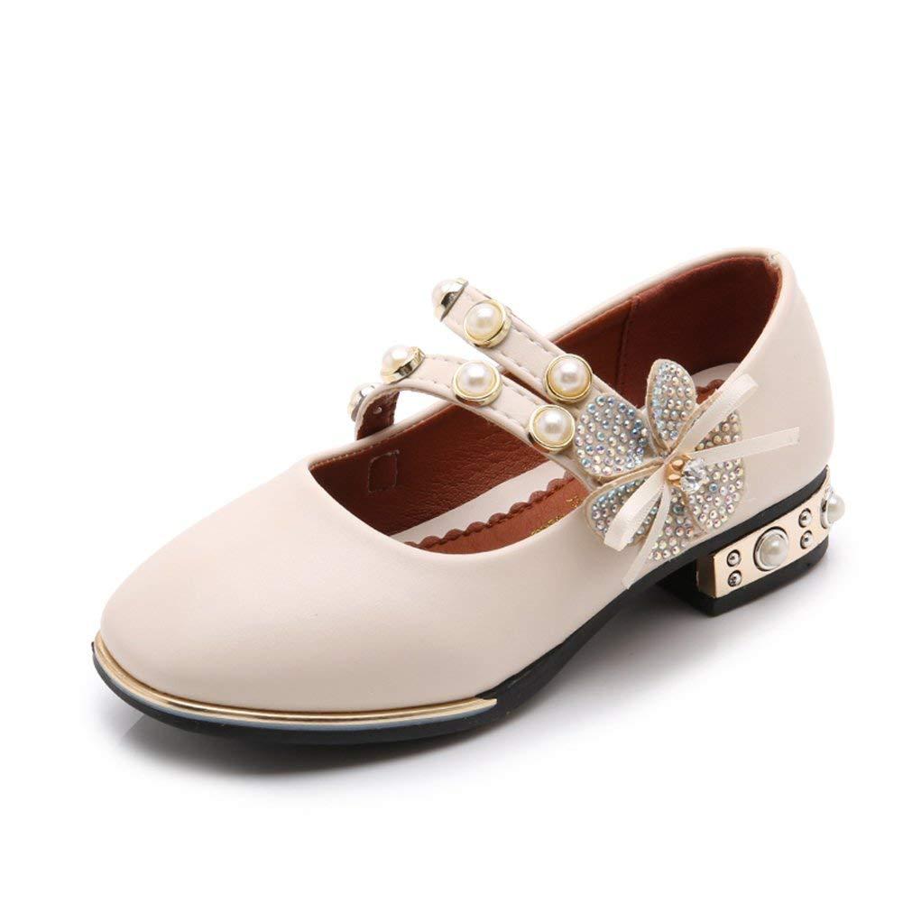 Veribuy Little Girls/Big Girls Dress Shoes Flat Pearl Flower Performance Shoes Wedding Shoes