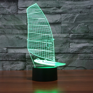 FS-3271 Sailing Vessel 3D Illusion Lighting Decoration Magic Led 3D Light 3D Acrylic Lamp