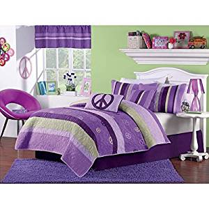 Buy 2 Piece Girls Peace Sign Twin Quilt Set, Hippie Themed ...