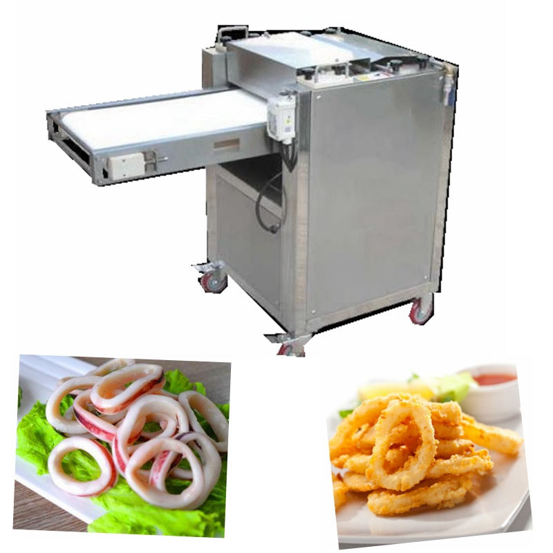 Industrial fish processor squid ring slicer with conveyor for sale