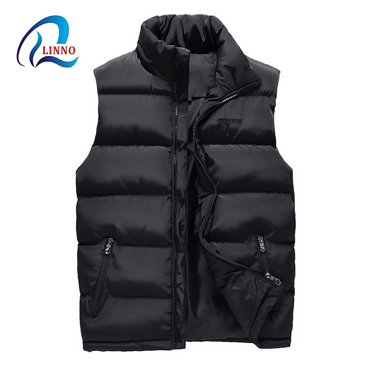 Fashion <strong>winter</strong> long puffer waterproof black sleeveless <strong>jacket</strong> <strong>man</strong> without hood