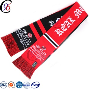 Chengxing knitting pattern jacquard acrylic football soccer fan woven polyester scarf