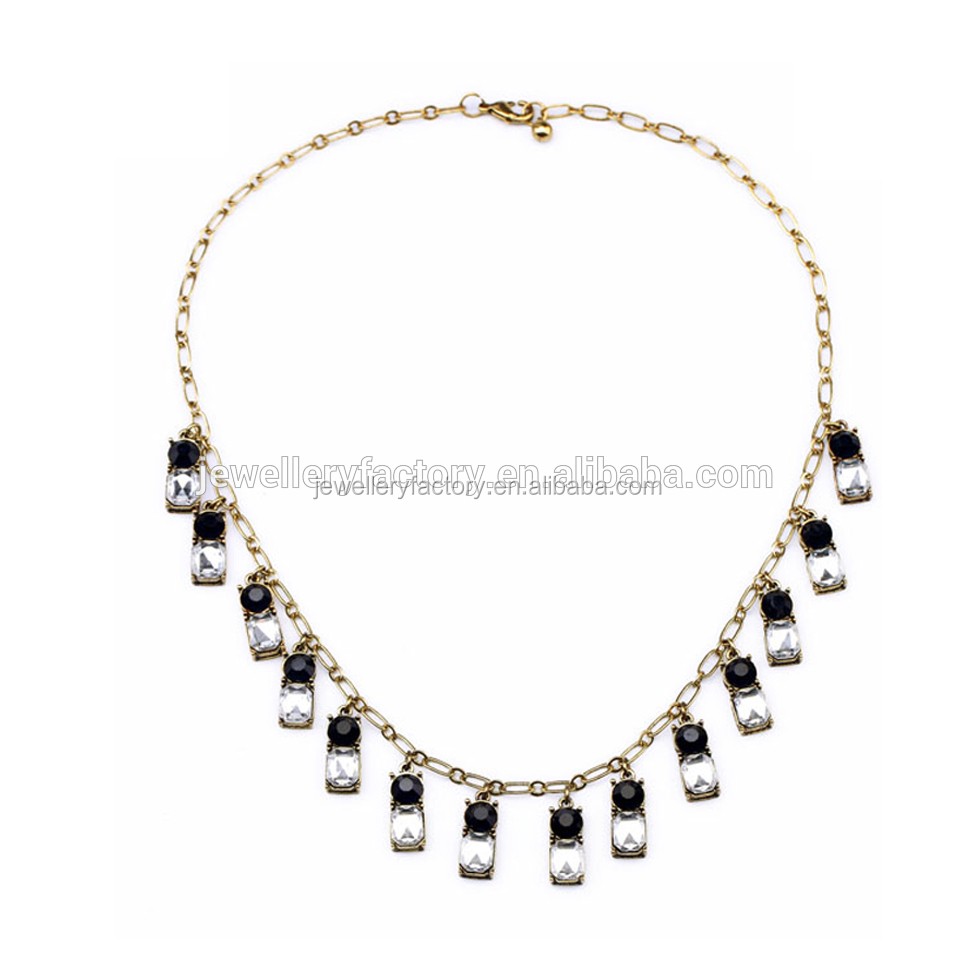 Fashion Cheaper Jewelry Rectangle Crystal Dangle Drop Choker Necklace