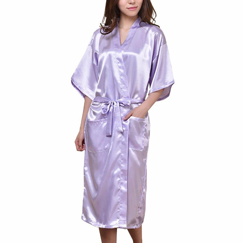 Get Quotations · Amurleopard Women s Kimono Robe Bridal Lingerie Sleepwear  Long Satin Robe Purple L 701b5633b