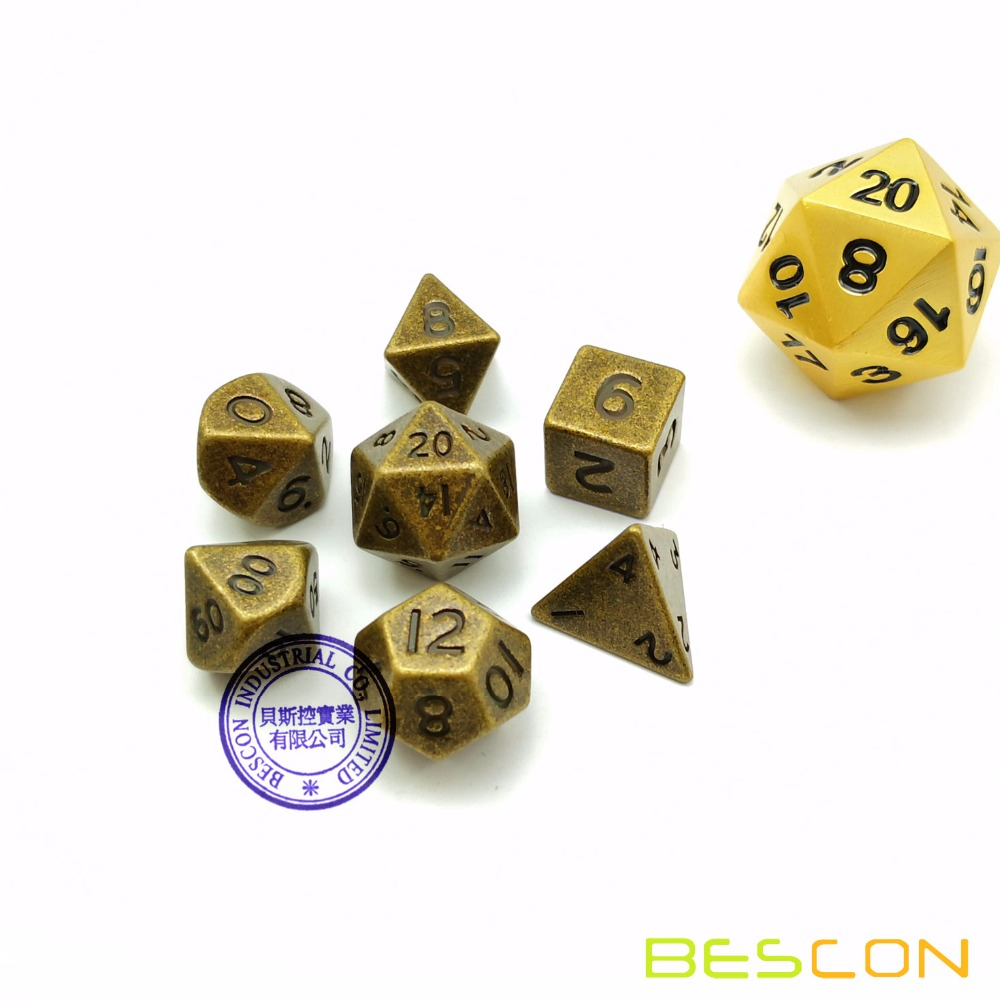 Bescon 10 MM Mini Metallo Solido Dadi Set Ottone Antico, Mini Metallic Poliedrici D & D RPG Miniature Dadi 7-sets