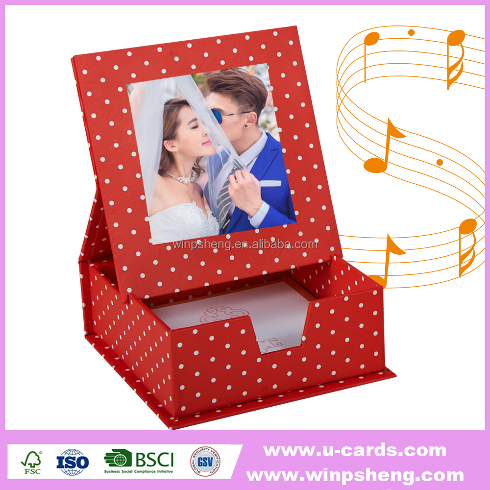 wedding paper picture frame led light music box