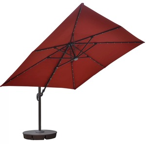 Outdoor garden parasol umbrella Solar LED Lighted aluminium cantilever parasol with crank