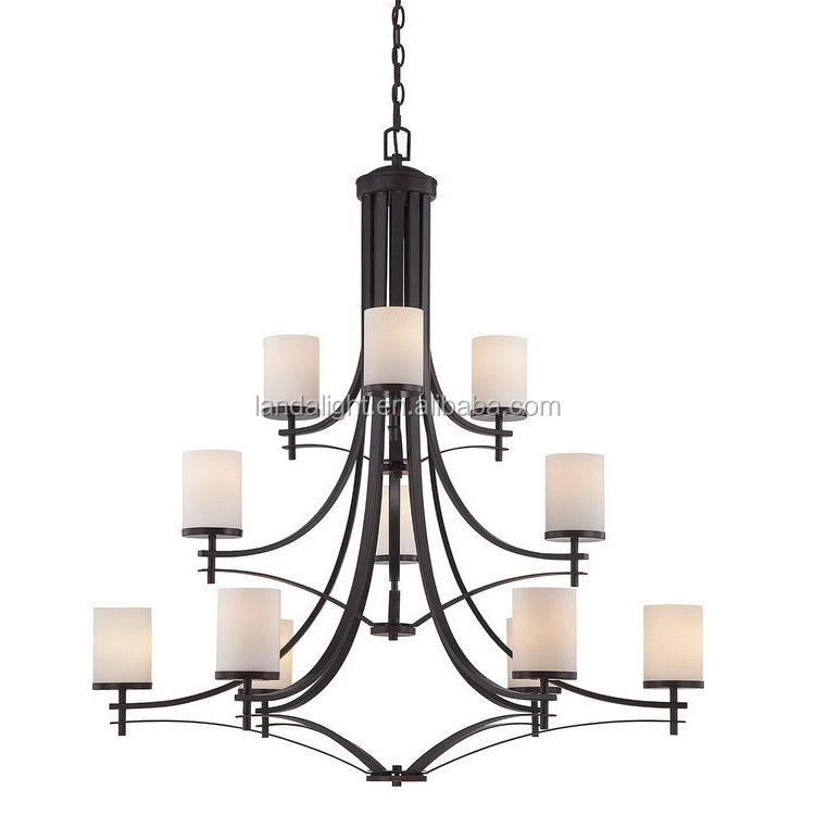Traditional European 3 tier 12 lights led suspension chandelier with white glass candle shades